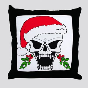 Santa skull Throw Pillow
