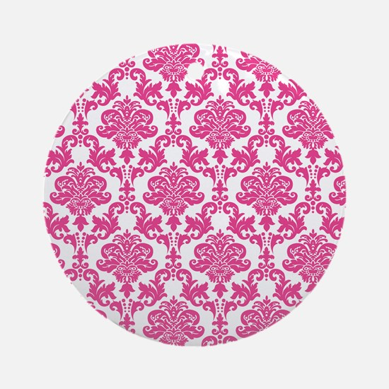 Pink Damask Ornament (Round)