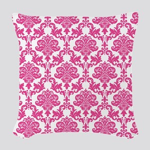 Pink Damask Woven Throw Pillow