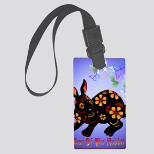 Year Of The Rabbit in Black Post Large Luggage Tag