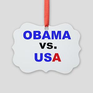 obama vs us2lbutton Picture Ornament
