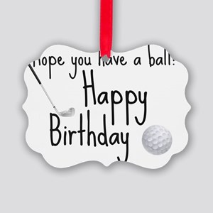 HB Golfer inside card Picture Ornament