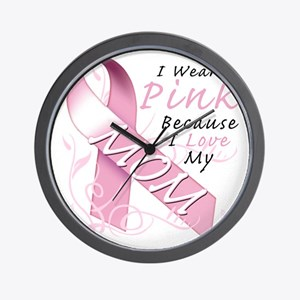 I Wear Pink Because I Love My Mom Wall Clock