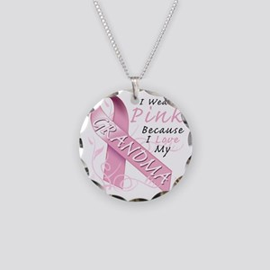 I Wear Pink Because I Love M Necklace Circle Charm