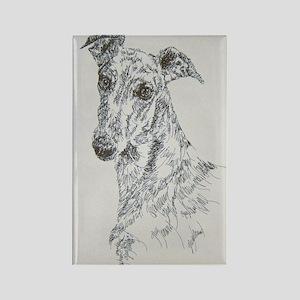 Greyhound_Black_KlineSq Rectangle Magnet