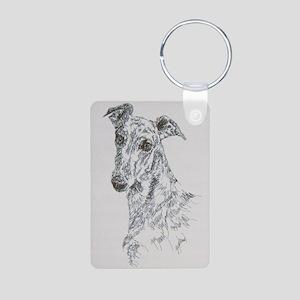 Greyhound_Black_KlineSq Aluminum Photo Keychain