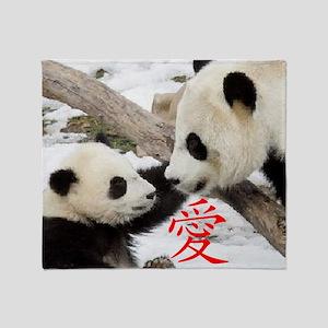 Chinese Love Pandas Throw Blanket