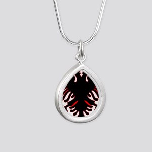 albania-flag Silver Teardrop Necklace