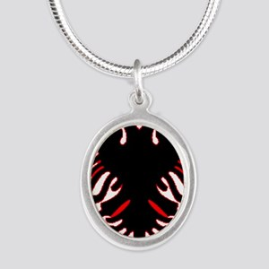 albania-flag Silver Oval Necklace