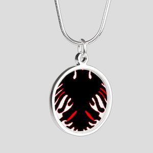 albania-flag Silver Round Necklace