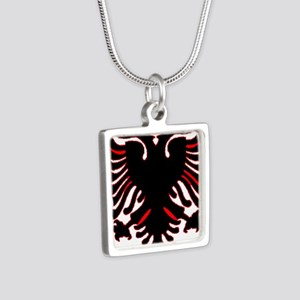 albania-flag Silver Square Necklace
