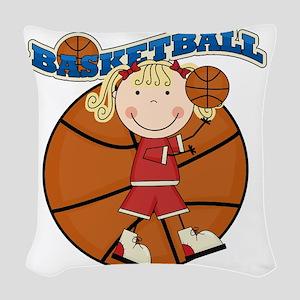 basketballkidfour Woven Throw Pillow