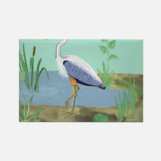 Heron Nature Canvas TALL Rectangle Magnet