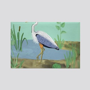 Blue Heron Rectangle Magnet