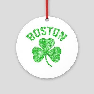 Boston Grunge - dk Round Ornament