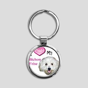 BichonFrise2 Round Keychain