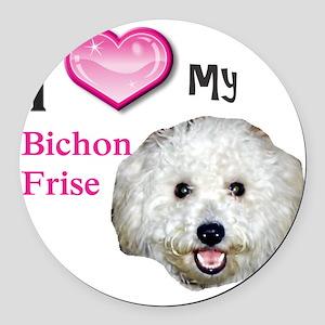 BichonFrise2 Round Car Magnet