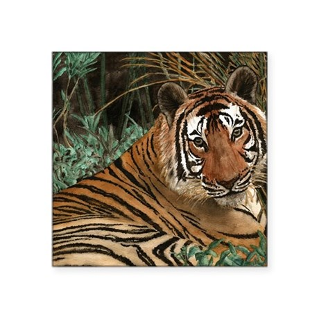 """Tiger laying Square Sticker 3"""" x 3"""""""