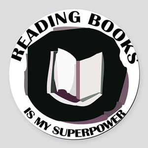 reading books is my superpower Round Car Magnet