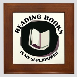 reading books is my superpower Framed Tile
