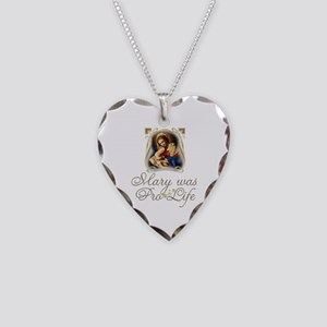 Mary was Pro-Life (vertical) Necklace Heart Charm
