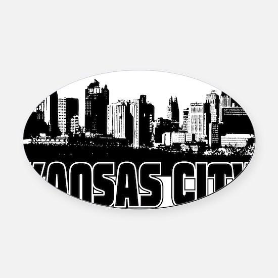 Kansas City Skyline Oval Car Magnet