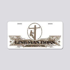 Lineman logo Grunge 2011a Aluminum License Plate