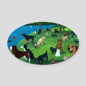 Sunday in the Park card Oval Car Magnet