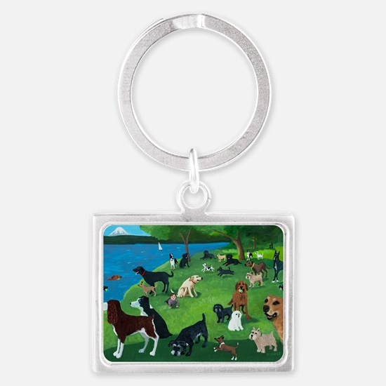 Sunday in the Park card Landscape Keychain