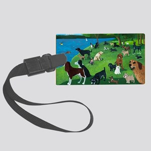 Sunday in the Park card Large Luggage Tag