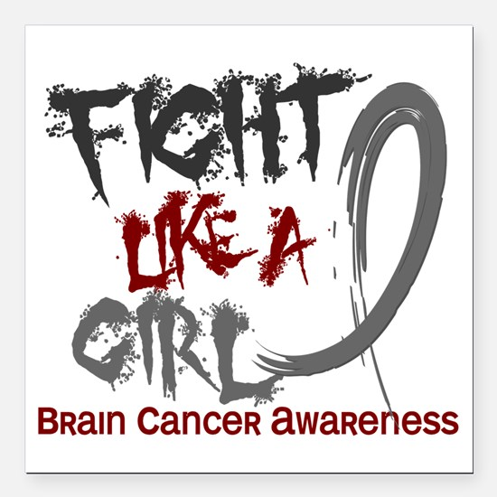 "Brain Cancer Square Car Magnet 3"" x 3"""