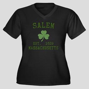 salem-ma Women's Plus Size Dark V-Neck T-Shirt