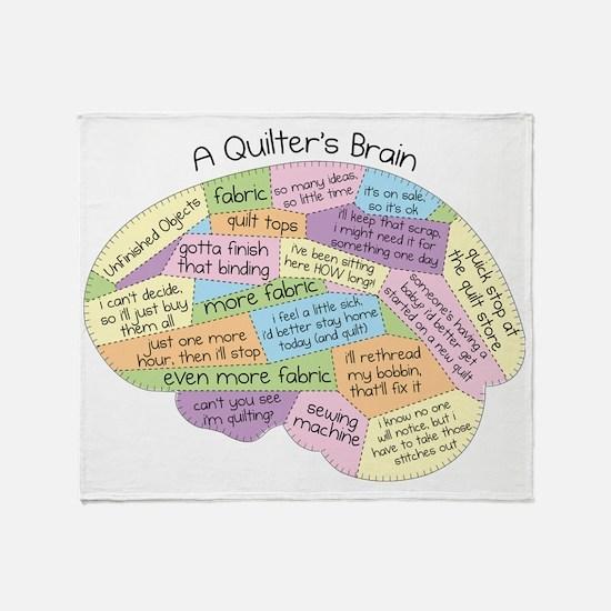 Quilters Brain2 Throw Blanket