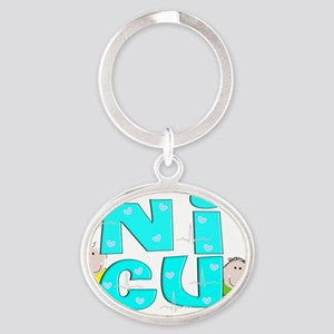 NICU Block Blue Oval Keychain