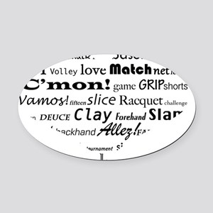 tennis-words-heart Oval Car Magnet