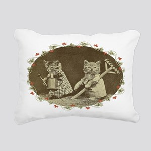 Gardening Kitties Rectangular Canvas Pillow