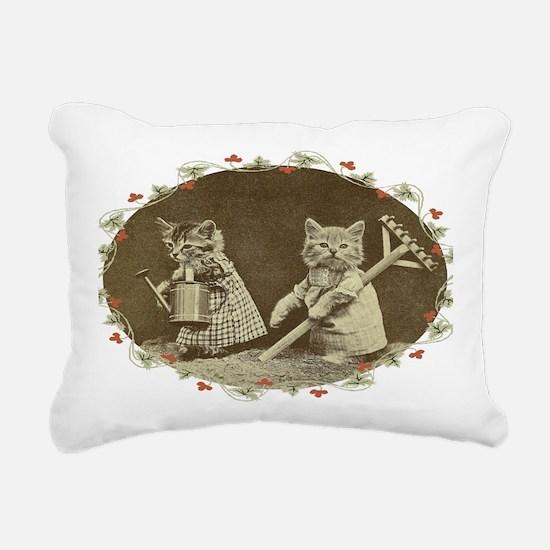 Gardening Kitties Rectangular Canvas Pillow