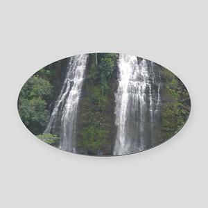 Opaekaa Falls on Kauai Oval Car Magnet
