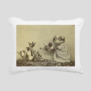 Garden Puppy Rectangular Canvas Pillow