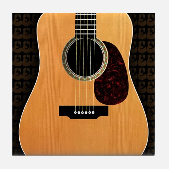 acoustic-guitar-framed panel print co Tile Coaster