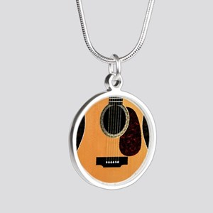 acoustic-guitar-framed panel Silver Round Necklace