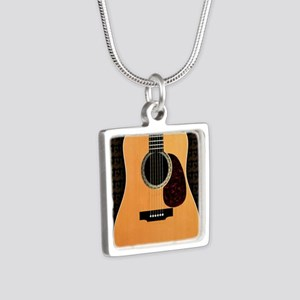 acoustic-guitar-framed pan Silver Square Necklace