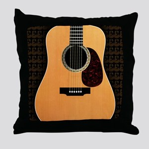 acoustic-guitar-framed panel print co Throw Pillow