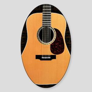 acoustic-guitar-framed panel print  Sticker (Oval)