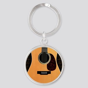 acoustic-guitar-framed panel print  Round Keychain