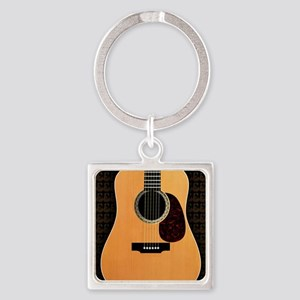 acoustic-guitar-framed panel print Square Keychain