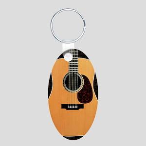 acoustic-guitar-framed pane Aluminum Oval Keychain