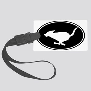 Running dog-black oval Large Luggage Tag