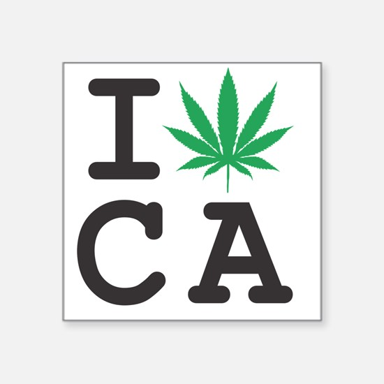 "I-weed-CA Square Sticker 3"" x 3"""