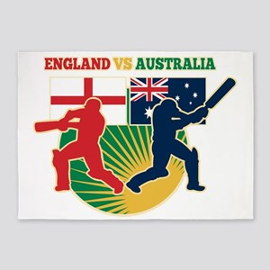 cricket sports batsman England vs A 5'x7'Area Rug